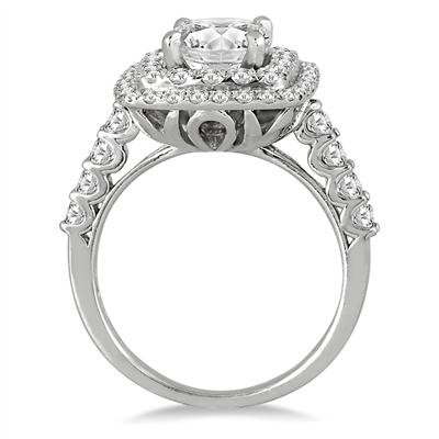 AGS Certified 1 5/8 Carat TW White Diamond Estate Engagement Ring in 14K White Gold (J-K Color, I2-I3 Clarity)
