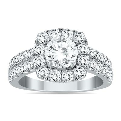 AGS Certified 2 1/10 Carat TW White Diamond Halo Engagement Ring in 14K White Gold (H-I Color, I1-I2 Clarity)