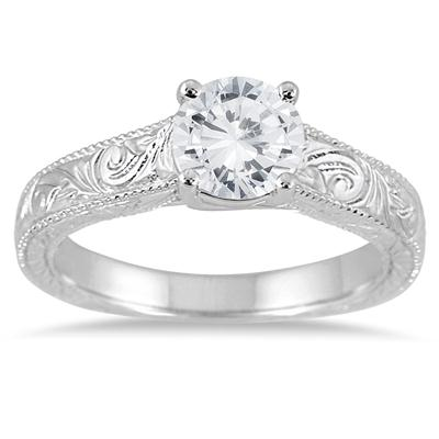 AGS Certified 1 Carat Diamond Antique Engraved Ring in 14K White Gold (I-J Color, I2-I3 Clarity)