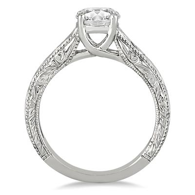 AGS Certified 1 Carat Diamond Antique Engraved Ring in 14K White Gold (J-K Color, I2-I3 Clarity)