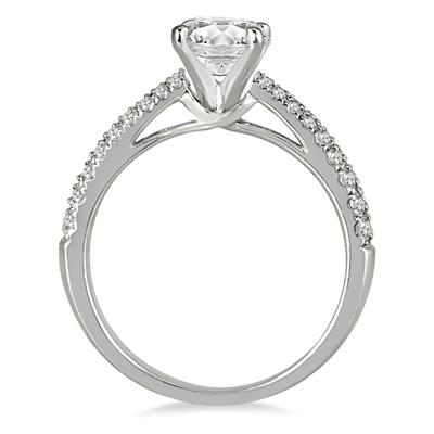 AGS Certified 1 Carat TW Diamond Pave Engagement Ring in 14K White Gold (J-K Color, I2-I3 Clarity)
