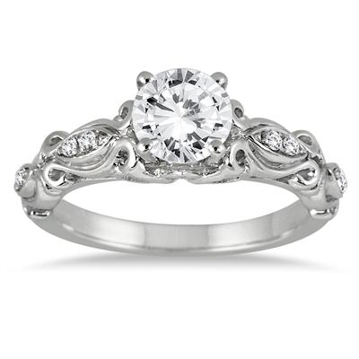 1 Carat TW Antique Engraved Diamond Ring in 14K White Gold