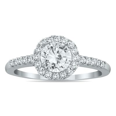 AGS Certified 1 Carat TW Diamond Halo Engagement Ring in 10K White Gold (J-K Color, I2-I3 Clarity)