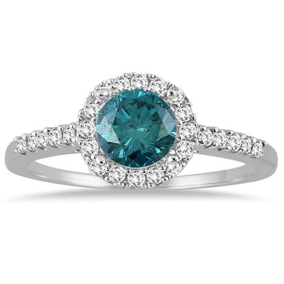 1 Carat TW Blue and White Diamond Halo Ring in 10K White Gold
