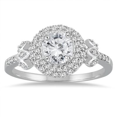 7/8 Carat Antique Diamond Ring in 14K White Gold