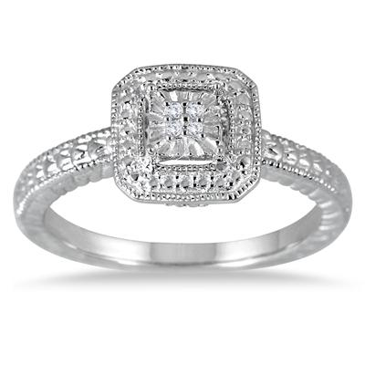 Antique Diamond Ring in Solid .925 Sterling Silver