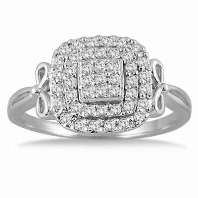 1/3 Carat TW Diamond Antique Cluster Ring in 10K White Gold