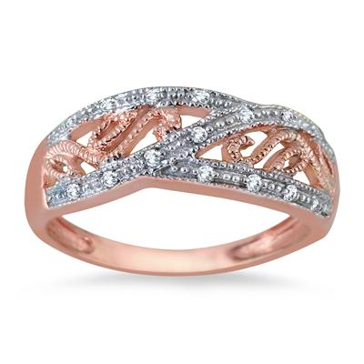 Rose Gold Plated Diamond Antique Ring in .925 Sterling Silver