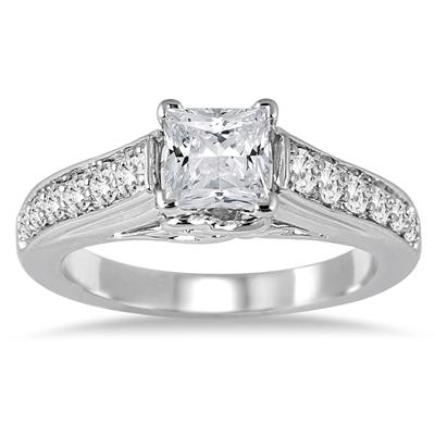 1 2/5 Carat TW Princess Cut Diamond Engagement Ring in 14K White Gold