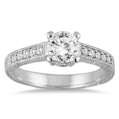 AGS Certified 1 1/6 Carat TW Diamond Ring in 14K White Gold (J-K Color, I2-I3 Clarity)