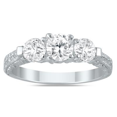 1 1/3 Carat TW Diamond Three Stone Engagement Ring in 14K White Gold