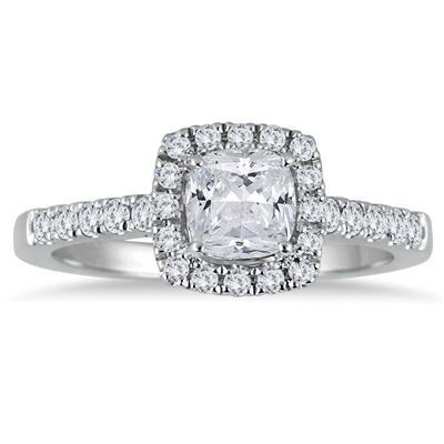 1 1/3 Carat Cushion Cut Diamond Halo Engagement Ring in 14K White Gold