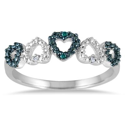 Blue and White Diamond Heart Shape Ring in .925 Sterling Silver