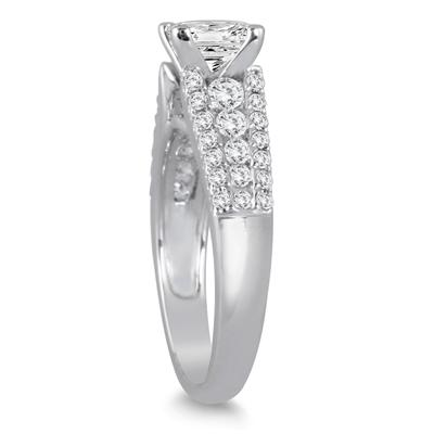 1 5/8 Carat TW Princess Cut Diamond Engagement Ring in 14K White Gold