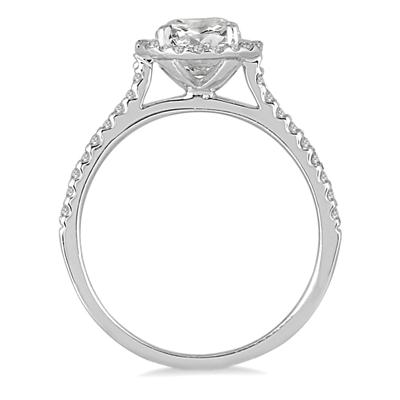 AGS Certified 1 1/4 Carat TW Diamond Halo Ring in 14K White Gold (I-J Color, I2-I3 Clarity)