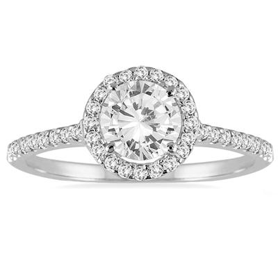 AGS Certified 1 1/4 Carat TW Diamond Halo Ring in 14K White Gold (H-I Color, I1-I2 Clarity)