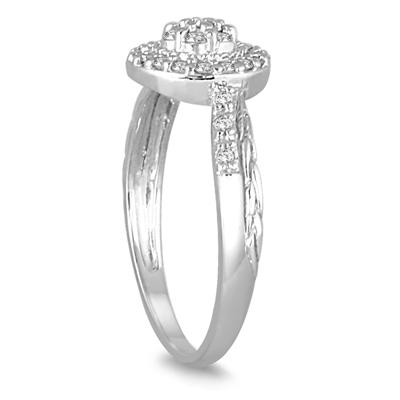 1/4 Carat Diamond Cluster Ring in 10K White Gold