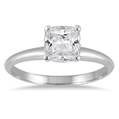 AGS Certified 1 Carat Cushion Cut Diamond Solitaire Ring in 14K White Gold