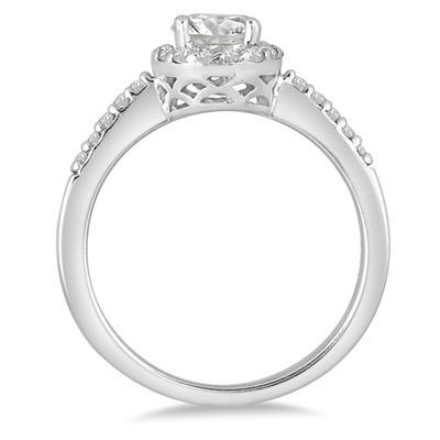 3/4 Carat TW Halo Diamond Engagement Ring in 14K White Gold