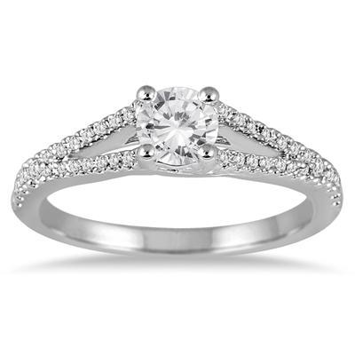 3/4 Carat TW Diamond Split Shank Engagement Ring in 14K White Gold