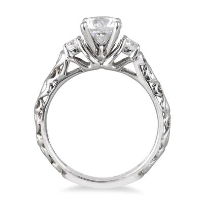 AGS Certified 1 Carat TW Diamond Three Stone Engraved Ring in 14K White Gold (J-K Color, I2-I3 Clarity)