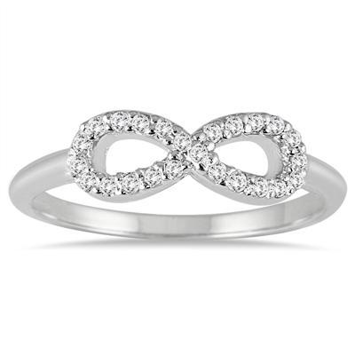 1/10 Carat TW Diamond Infinity Ring in 10K White Gold