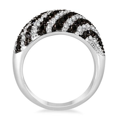 7/8 Carat Black and White Diamond Ring in .925 Sterling Silver