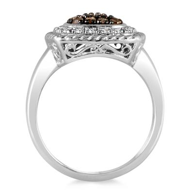 1/3 Carat TW Champagne and Diamond Ring in .925 Sterling Silver