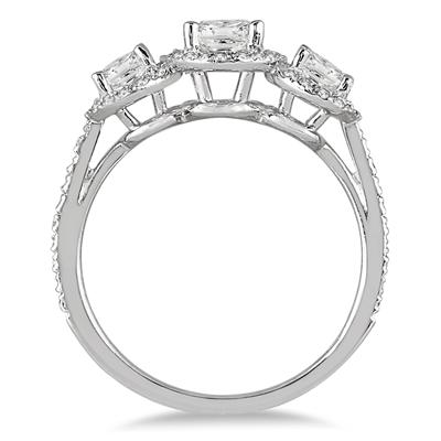 1 Carat TW Princess Diamond Three Stone Ring in 14K White Gold