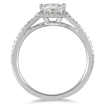 1/2  Carat TW Princess Cut Diamond Engagement Ring in 14K White Gold