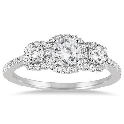 1 Carat TW Diamond Three Stone Ring in 14K White Gold