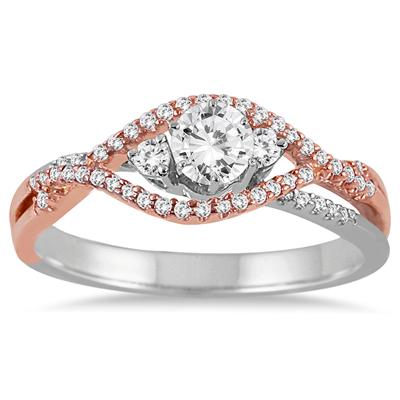 1/2 CTW Diamond Engagement Ring in 14K Pink and White Gold