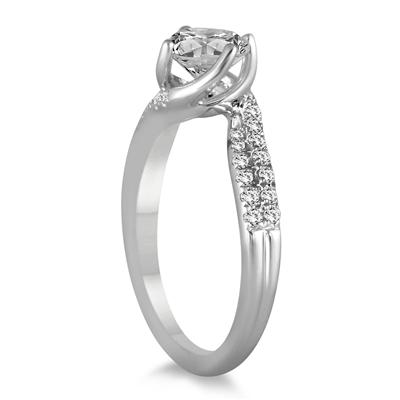 AGS Certified 1 1/5 TW Carat Diamond Engagement Ring in 14K White Gold (H-I Color, I1-I2 Clarity)