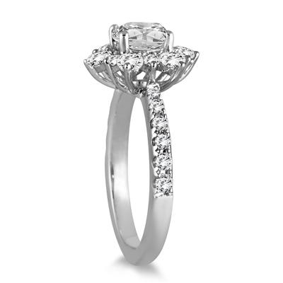 AGS Certified 1 3/4 Carat TW Diamond Engagement Ring in 14K White Gold (J-K Color, I2-I3 Clarity)