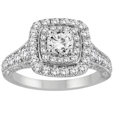 AGS Certified 1 1/4 Carat TW Diamond Double Halo Engagement Ring in 14K White Gold (J-K Color, I2-I3 Clarity)