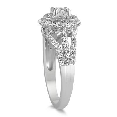 AGS Certified 1 1/2 Carat TW Diamond Engagement Ring in 14K White Gold (J-K Color, I2-I3 Clarity)