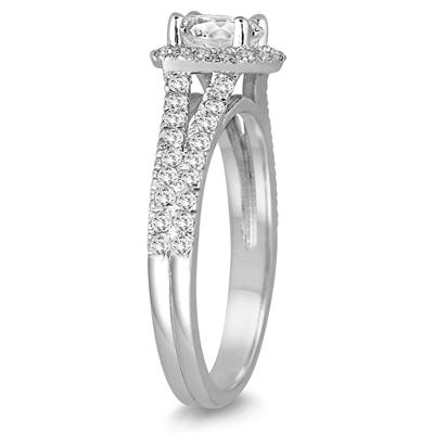1 1/2 Carat Cushion Cut Diamond Ring in 14K White Gold