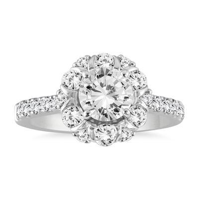 AGS Certified 1 3/4 Carat TW Diamond Halo Engagement Ring in 14K White Gold (J-K Color, I2-I3 Clarity)