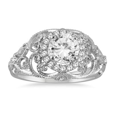 AGS Certified 1 1/5 Carat Diamond Engraved Engagement Ring in 14K White Gold (H-I Color, I1-I2 Clarity)