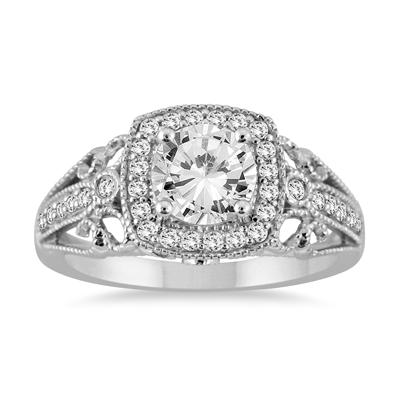 ASG Certified 1 1/5 Carat TW Diamond Filigree Engraved Engagement Ring in 14K White Gold (J-K Color, I2-I3 Clarity)