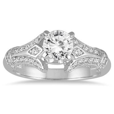 1 1/6 Carat Diamond Engagement Ring in 14K White Gold