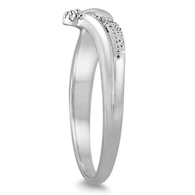Diamond 5 Stone Wave Ring in .925 Sterling Silver