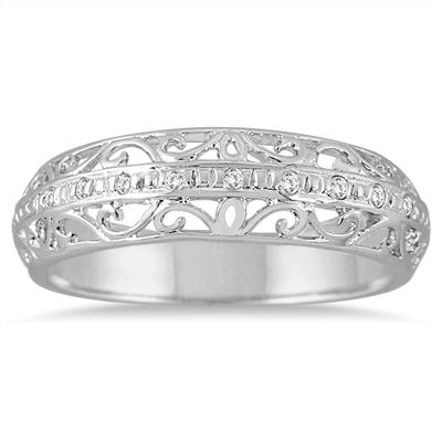 Diamond Antique Engraved Ring in .925 Sterling Silver