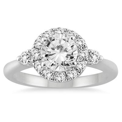AGS Certified 1 3/8 Carat TW Diamond Halo Engagement Ring in 14K White Gold (J-K Color, I2-I3 Clarity)