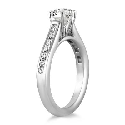 AGS Certified 1 Carat TW Diamond Channel Engagement Ring in 14K White Gold (J-K Color, I2-I3 Clarity)