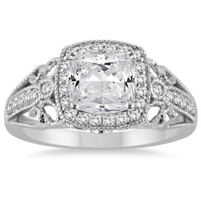 1 1/4 Carat Cushion Cut Diamond Filigree Engraved Engagement Ring in 14K White Gold