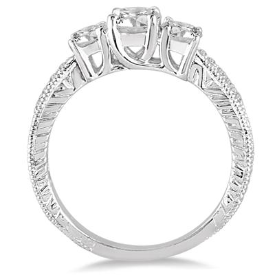 1 1/10 Carat TW Diamond Three Stone Ring in 14K White Gold