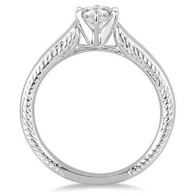 AGS Certified 1 Carat Diamond Cathedral Ring in 14K White Gold (J-K Color, I2-I3 Clarity)