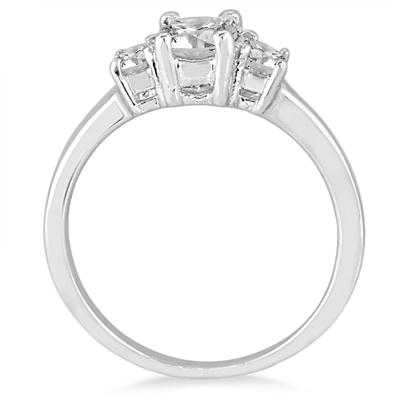 3/4 Carat TW Diamond Three Stone Engagement Ring in 14K White Gold