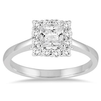 3/4 Carat TW Princess Cut Diamond Halo Engagement Ring in 14K White Gold